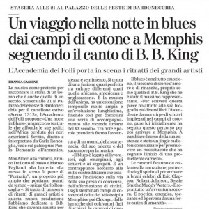 UNA NOTTE IN BLUES. B.B.KING. LA STAMPA 2019